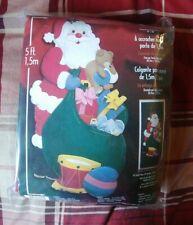 """RARE! Bucilla 84823 JUMBO SANTA WALL HANGING """"Santa Deliveries"""" Felt Sequins NR!"""