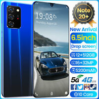 NEW Note20+ 512GB Android 10 Smartphone Unlocked Dual SIM Mobile Phone 5G WiFi