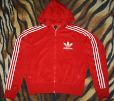 adidas red zip track hoodie jacket firebird striped white L large liverpool