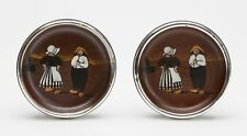 PAIR ANTIQUE TAYLOR TUNNICLIFFE DUTCH SCENE DISHES 1908