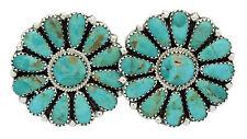 Zieta Begay, Pierced Earrings, Kingman Turqouise, Cluster, Navajo Handmade, 1.4