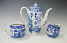 Coffee Pot /Sugar Bowl/Creamer Blue and White Made in Japan