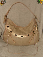 "Botkier Brand Beige Canvas w Rose Gold Leather Hobo Handbag , 15"" x 9"""