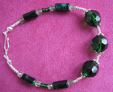 Handmade bracelet: green, tiger eye and silver beads