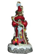 "Christmas lighted fire hydrant with fire engine and bears 16"" tall Firehouse"
