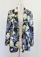 Zara Basic Black Tropical Floral Open Front Blazer Jacket Size L Blue Yellow
