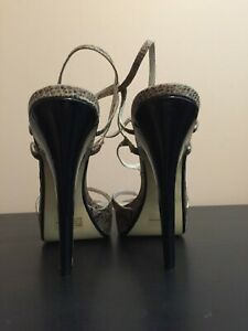 Sexy High Heel Strappy Sandals size 10 with 6 inch black spike heels