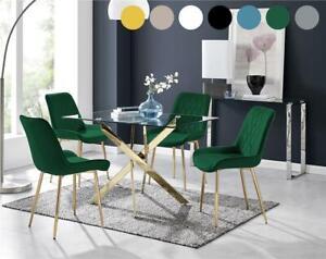 Leonardo Gold Leg Rectangular Glass Dining Table & 4 Modern Chairs
