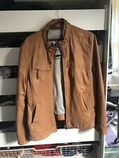 Mens Arma Tan Leather Jacket Size 56