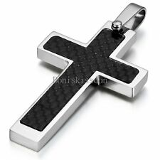 "Men's Silver Stainless Steel Black Carbon Fiber Cross Pendant Necklace 22"" Chain"