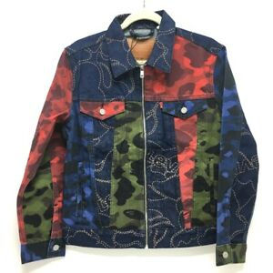 UNUSED A BATHING APE Bape x Levi's MULTICOLOR CAMO TRUCKER JACKET Denim Jacket