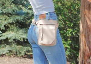 Beige Leather Hip Bag Festival Waist Pack Fanny Pack Women Utility Belt Men