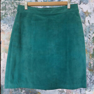 Vintage 90s Size 11-12 Turquoise Leather Suede Pencil Midi Skirt Bright Spring