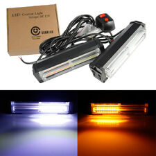 2x Car COB LED Emergency Warning Traffic Advisor Strobe Flash Light White Amber