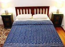 Handcrafted Rajasthani Quilt: ocean blue and white block print
