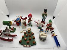 12 Vintage Wooden Christmas Ornaments Horse, Birds, Elves, Deer, Nutcracker A4