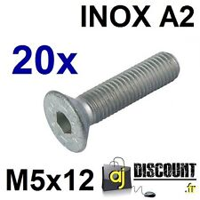 20x Vis FHC (BTR) - M5x12 - INOX A2 - DIN 7991 - 6 pans creux