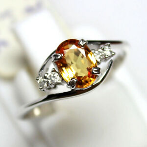 Natural Yellow Sapphire Oval Gemstone 9K White Gold Women Engagement Ring
