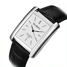 Ladies Square White Face Silver Bezel Black Genuine Leather Strap Watch