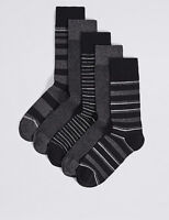 M&S Men Pack of 5 pairs Cool Freshfeet™ BLACK GREY WHITE Cotton MIX Socks 8 - 12