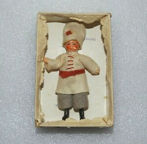 """VINTAGE BISQUE RUSSIAN BOY Original Clothes & Box 3 3/4"""" JOINTED GERMANY DOLL"""