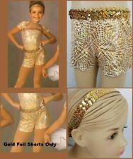 Midas Touch Dance Costume Gold Foil Shorts & Sequin Headband ONLY Child 6x7