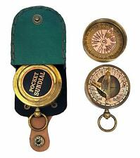 Brass Nautical Pocket Sundial Compass London, Both Side Work on The Bird