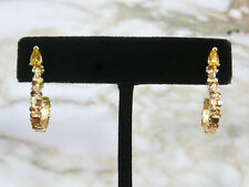 "PAIR VINTAGE SOLID 14K YELLOW GOLD NUGGET 1"" HOOK EARRINGS W/ YELLOW PEAR STONE"