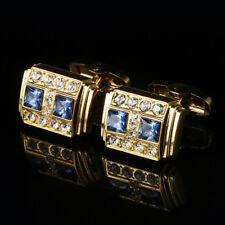 Men's Blue Crystal French Cufflinks Jewelry Wedding Party Novelty Cuff Links