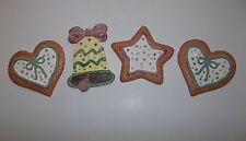 Vintage Ceramic Gingerbread Christmas Tree Ornament Heart Star Bell Set Of 4