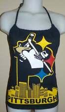 Ladies Pittsburgh Penguins Reconstructed NHL Hockey Shirt Halter Top DiY