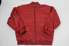 MENS GENUINE LAMBSKIN LEATHER BASEBALL JACKET BOMBER STYLE RED (ALL SIZES)