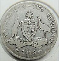 1918 M AUSTRALIA George V, silver  Florin, Grading About FINE. #2.