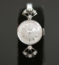 14K SOLID WHITE GOLD 1957 Vintage OMEGA LADY 481 SWISS COCKTAIL WATCH DIAMONDS