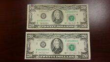 Lot of 2 Two Old $20 US Notes Bills ( 1990 - 1993 ) $40.00 Face Value