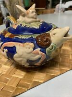 Majolica Like Hand Painted Teapot Pot With Angels& Ram Spout