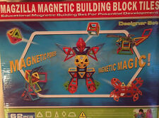MAGZILLA Magnetic Building Blocks 62-pc Set with Extra Strong Magnets & 5 Shapes