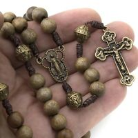 Catholic Rosary Beads Wood Strong Cord Miraculous Center Men Women Brown