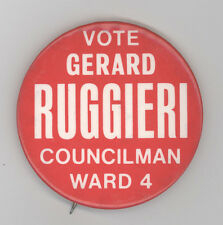 1970s CRANSTON RHODE ISLAND Political BUTTON Pinback PIN Badge GERARD RUGGIERI