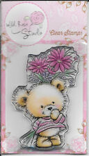 Wild Rose Studio Clear Stamp -- NEW -- Teddy with Flowers -- (#2138)
