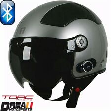 TORC T58B BLUETOOTH GLOSSY SILVER BLACK OPEN FACE MOTORCYCLE HELMET DOT XS - XL