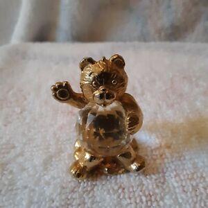 Crystal De Lites by Manon Teddy Bear Gold Tone Figurine 1984 Austria