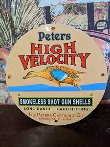 VINTAGE 1950'S PETERS HIGH VELOCITY SHELLS PORCELAIN ADVERTISING SIGN SHOTGUN