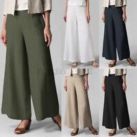 ZANZEA UK Women Cotton Elastic Waist Flared Wide Leg Pants Casual Loose Trousers