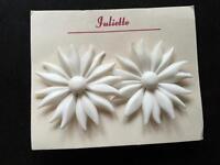 Vintage 1950s  White Flower EARRINGS   Deadstock   Kitsch      404 W