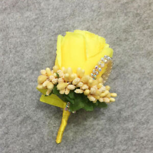 wedding buttonholes rose flower bouquets ivory purple groom best man Flower 1PC