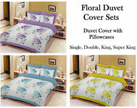 Floral Pattern Duvet Quilt Cover Set, Bedding Set, Single, Double, Super King