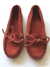 Vintage Peace Moccasins Red Suede Leather Black Trim Shoes Womens Tabitha Sz 6.5