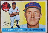 "1955 Topps Baseball Card #151 ""Red"" Kress, Cleveland Indians - G"