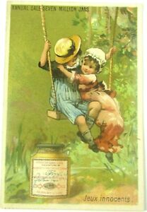 1880's Liebig Company's Extract of Meat Trade Card Jeux Innocents Children Swing